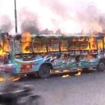 Shop Truck Torched in Karachi Political Killings