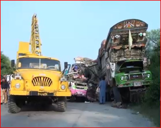 Bus Crashes Into Truck