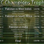 ICC Champions Trophy 2013 Pakistan Match Schedule Time Table